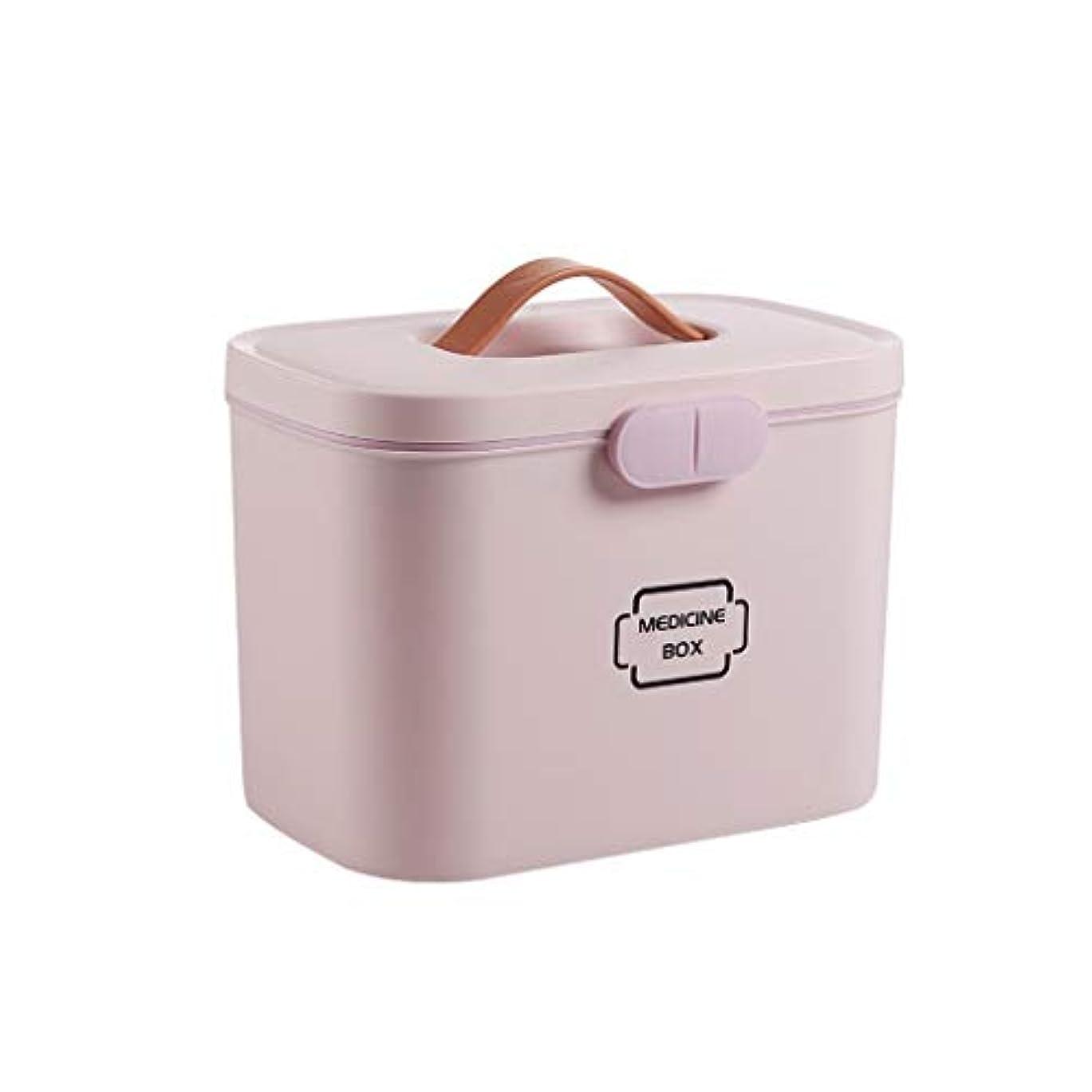 支配する多くの危険がある状況ランチ薬箱携帯用家庭用大型薬収納救急箱二重層設計安全ロック付きブルー、ピンク、ホワイト SYFO (Color : Pink)