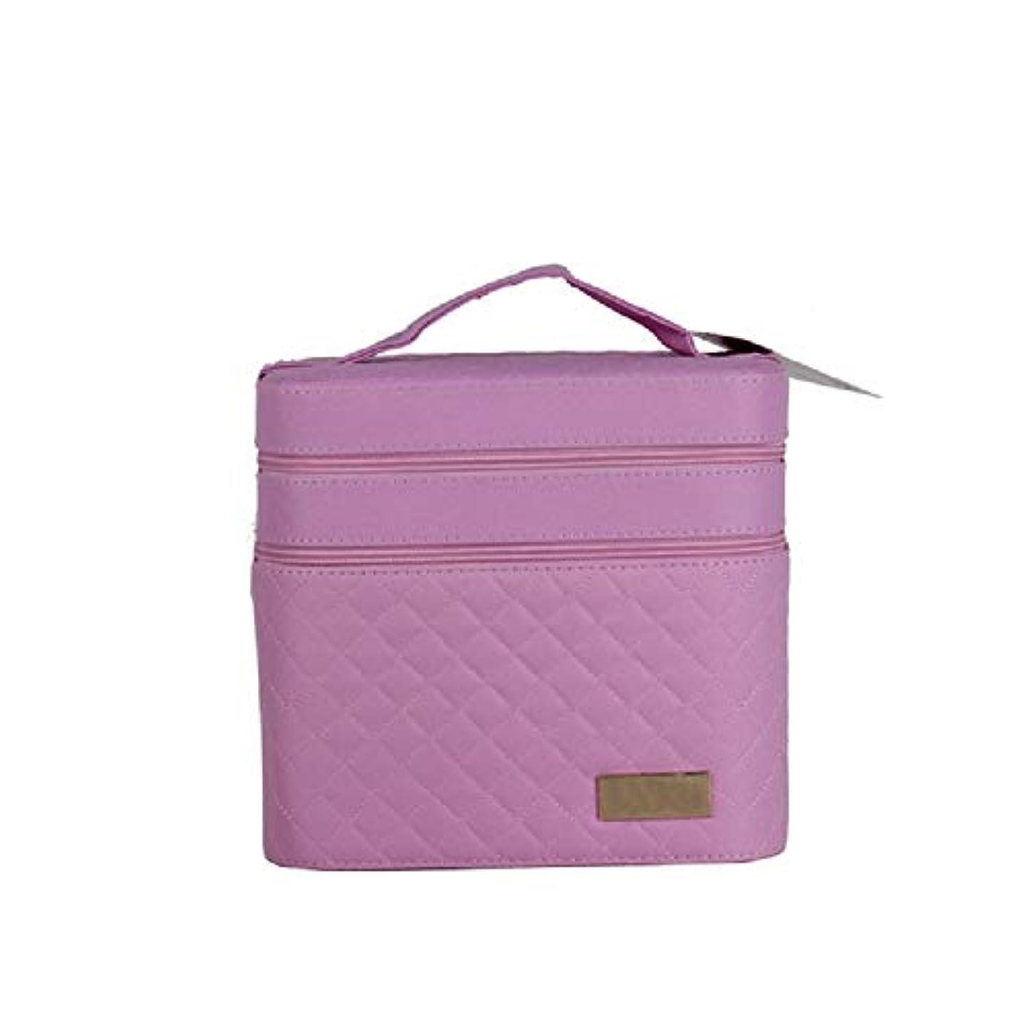 キッチン口ひげ宣教師化粧オーガナイザーバッグ ジッパーと化粧鏡で小さなものの種類の旅行のための美容メイクアップのためのピンクのポータブル化粧品バッグ 化粧品ケース
