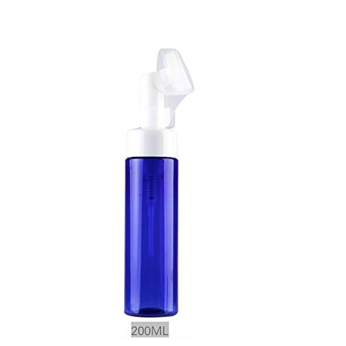 フルートフルート脇にXiton 泡ボトル 泡ポンプボトル 押すだけで泡が出る 安定感のある 詰め替え 詰替 泡ハンドソープ 全身石鹸 ボディソープ 洗顔フォーム ブラシ付き 200ML (ブルー)