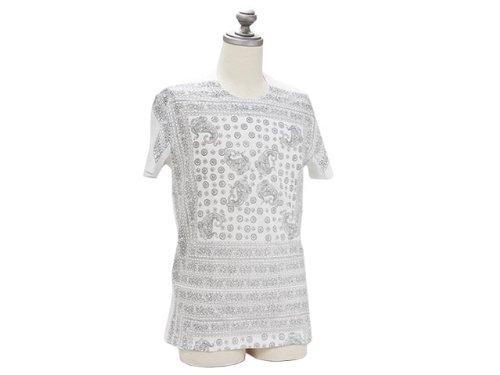 Tシャツ M33170 OMH59 X0860 WHITE ホワイト ペイズリー柄 半袖 カットソー ロゴ ドルチェ&ガッバーナ