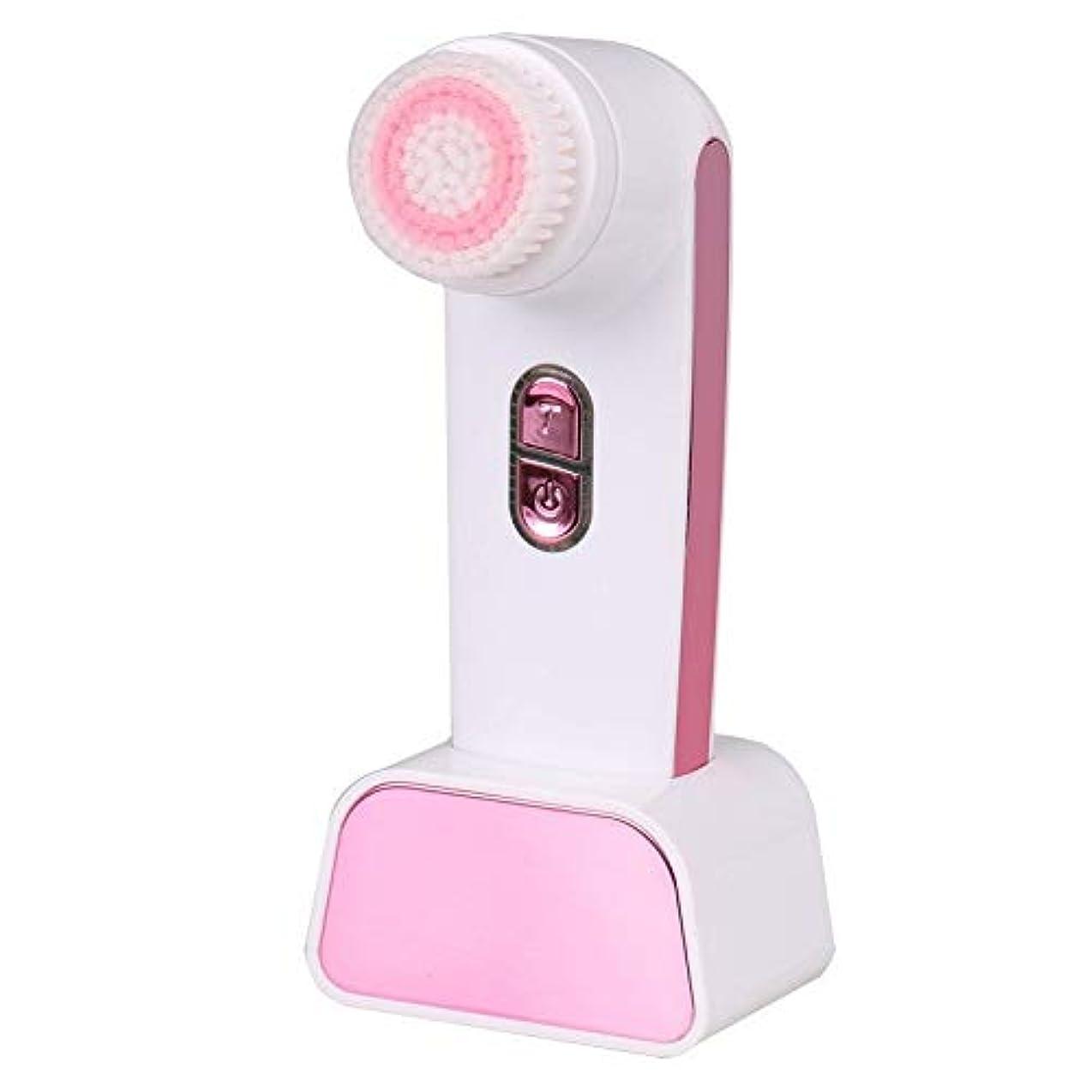 ステップ地平線アクセルソニックバイブレーションフェイシャルクレンジングブラシ、ディープフェイシャルクレンジングブラシ電動ビューティーマッサージャー穏やかな角質除去クリア化粧品残留物 (Color : Pink)