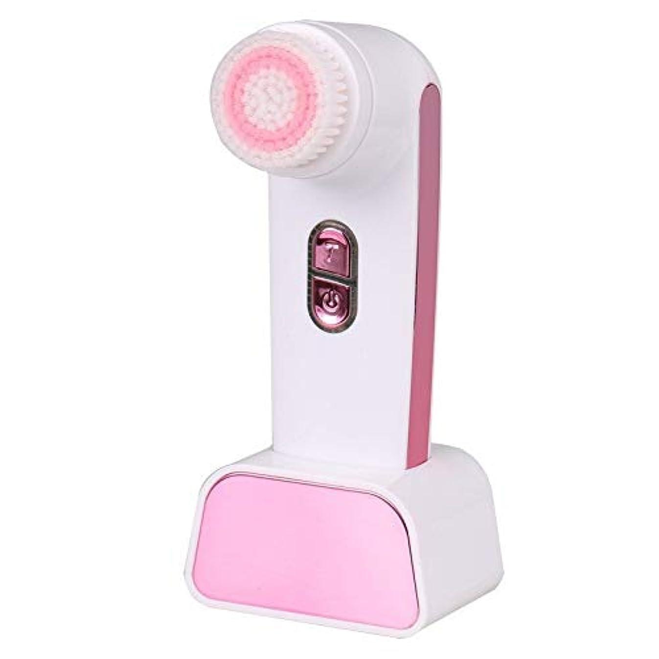 葉巻ルビー懇願するソニックバイブレーションフェイシャルクレンジングブラシ、ディープフェイシャルクレンジングブラシ電動ビューティーマッサージャー穏やかな角質除去クリア化粧品残留物 (Color : Pink)