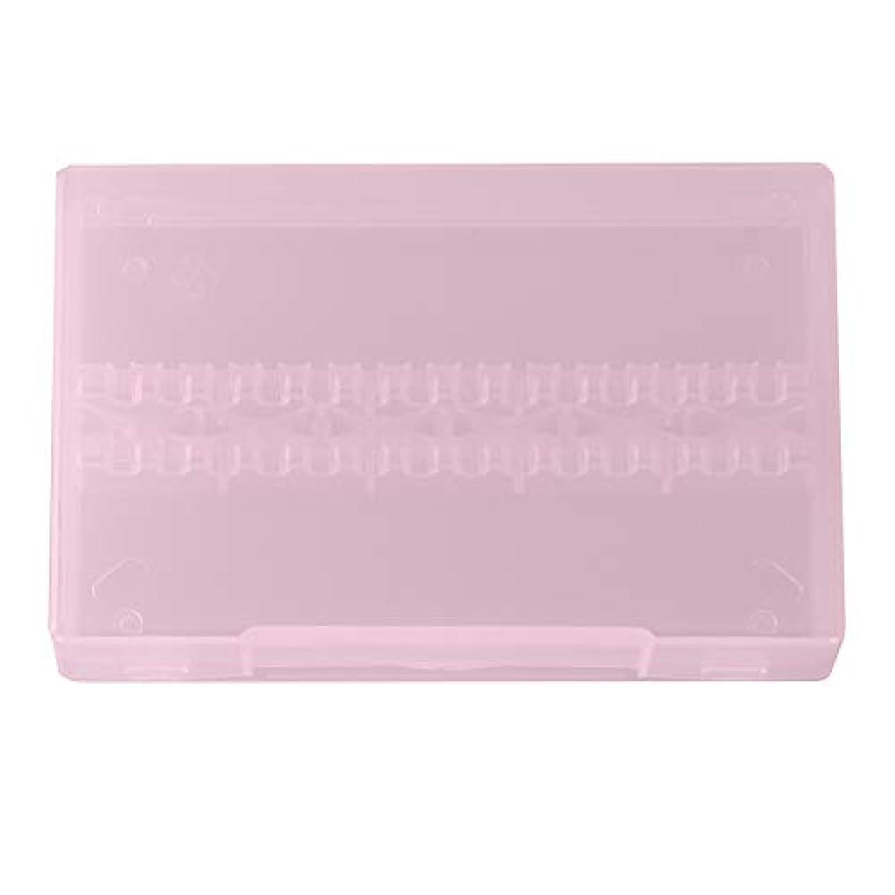 ネイルドリルボックス、14穴プロフェッショナルネイルアート研磨研削ドリルビットホルダーディスプレイ収納ボックスコンテナ(ピンク)
