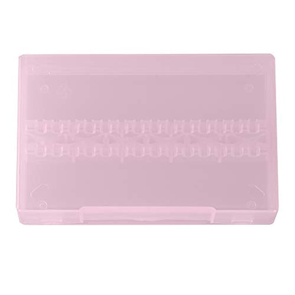 忍耐噂オーロックネイルドリルボックス、14穴プロフェッショナルネイルアート研磨研削ドリルビットホルダーディスプレイ収納ボックスコンテナ(ピンク)