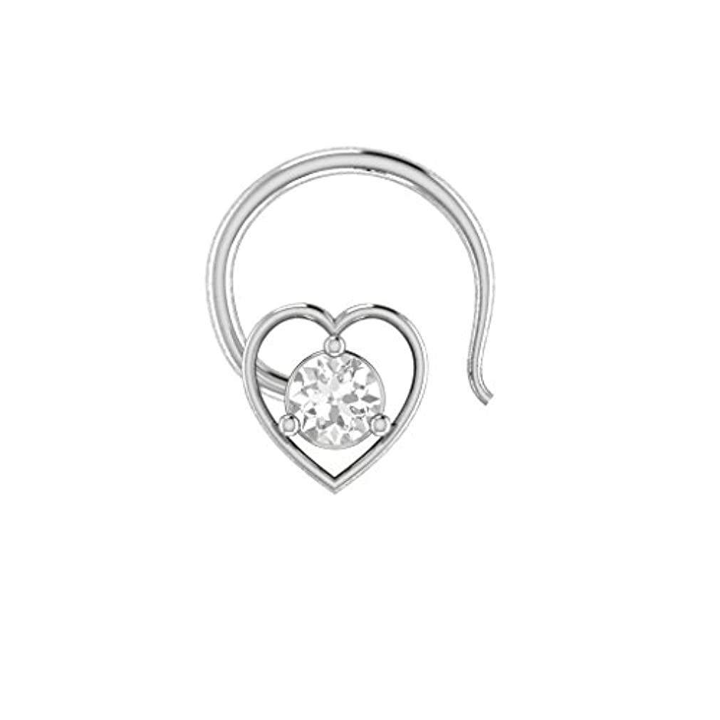 ベンチ枯渇大工bbamjewelry 女性用 14k WG 925 ハート型 キュービックジルコニア 婚約 結婚式 鼻ピアス スタッドピンリング