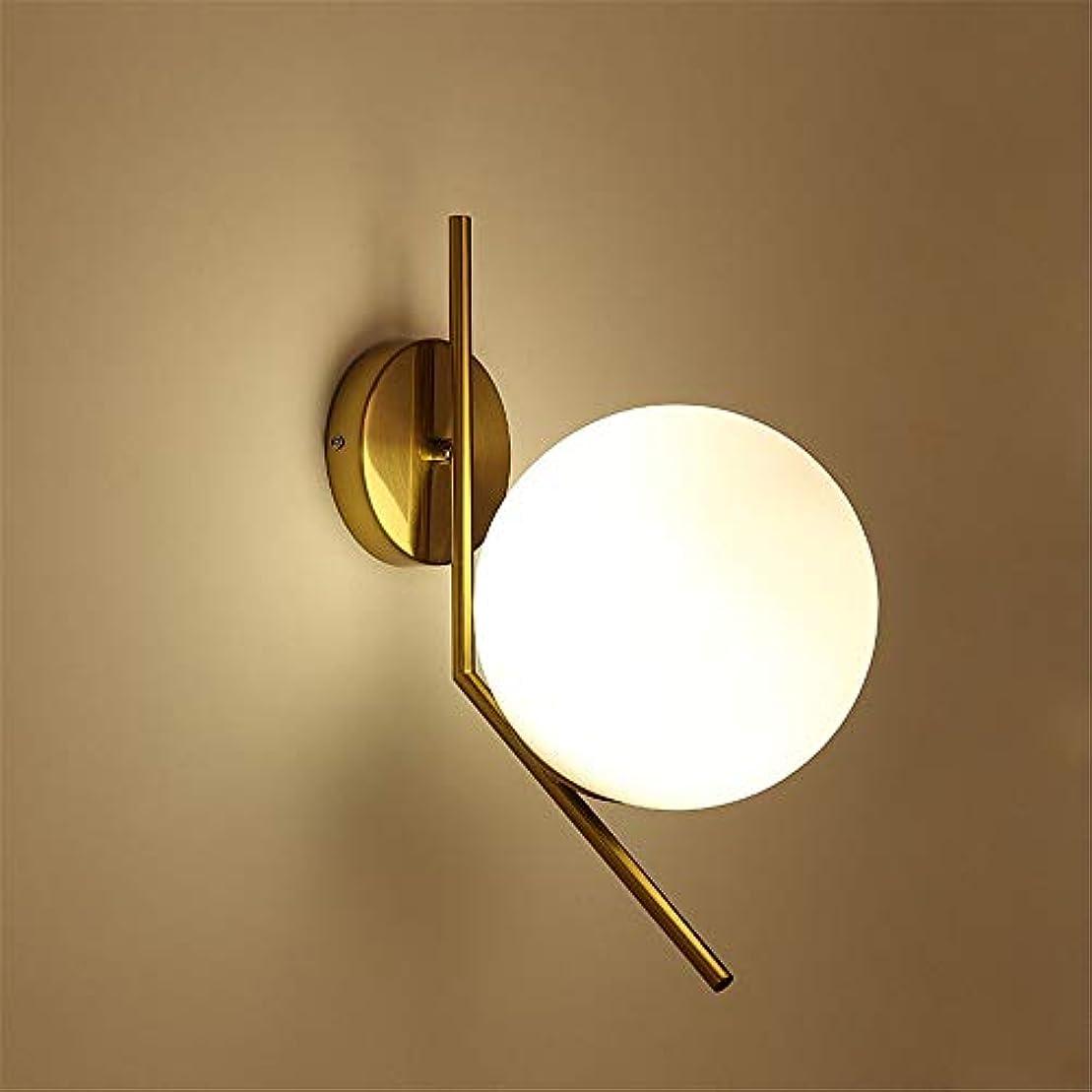 フィドルなくなるマトロン北欧のモダンモダンガラス球ウォールランプリビングルームベッドルームベッドサイドバルコニー廊下通路錬鉄人格クリエイティブランプ 照明器具 (色 : ゴールド, サイズ : 42*20cm)