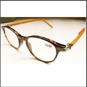 YGJ76/ジョン・レノンもかけていたレトロな金具がポイントなロイドメガネ老眼鏡 (2.5, Brown/Yellow)