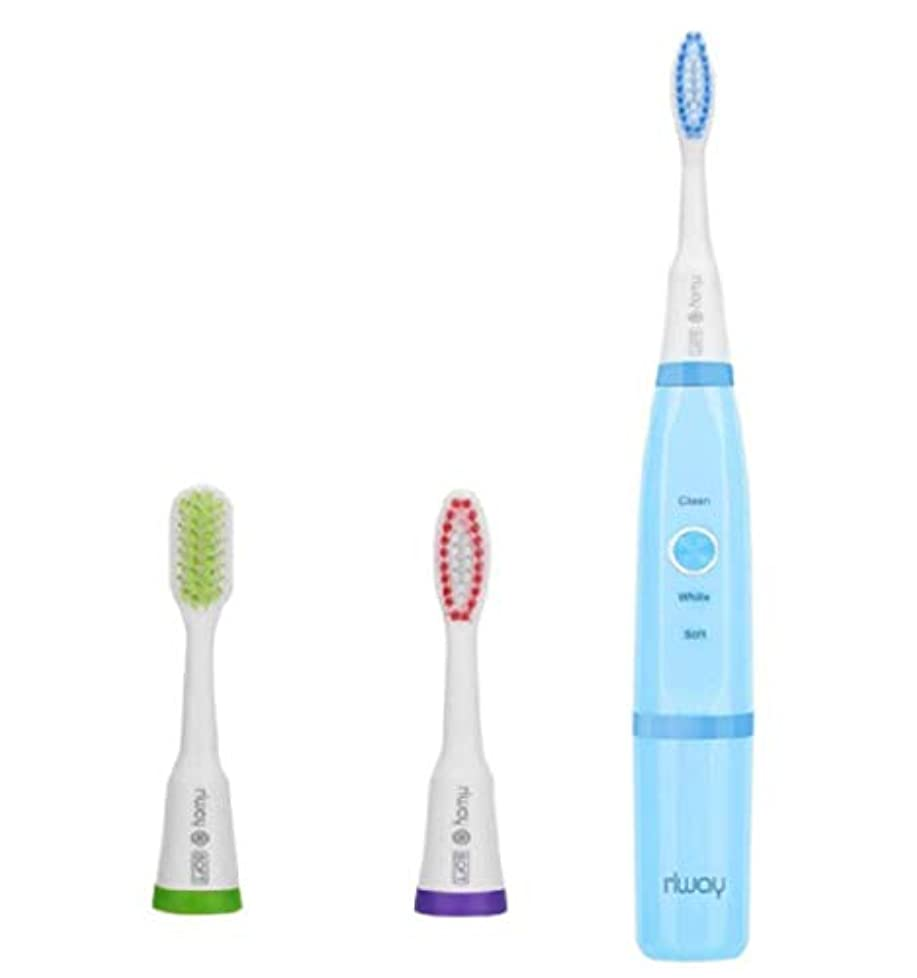 厳しい心理的彼女の電動歯ブラシ rlway 超音波電動歯ブラシ IPX7防水 USB充電式 替えブラシ3本 プロテクトクリーン 歯ブラシ ハブラシ 子供大人に適用 ブルー