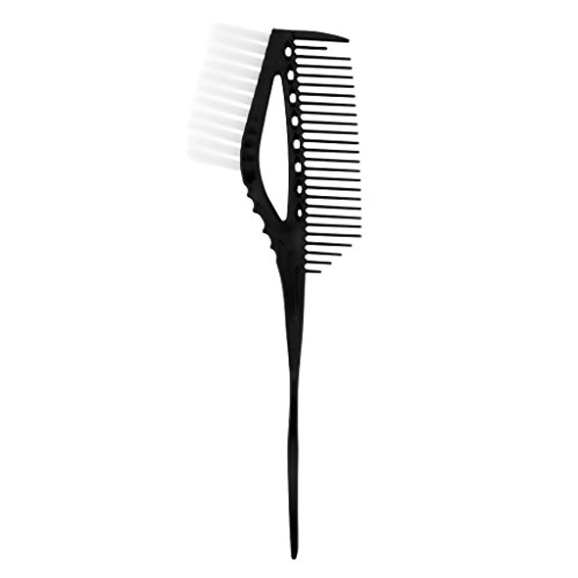 下安全でないフリルハイライト櫛 染め櫛 ヘアブラシ ヘアカラー 色合い ヘアスタイル 便利 3色選べる - ブラック