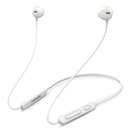 ToGeeKa Bluetooth イヤホン [進化版 IPX5完全防水] Bluetooth ワイヤレ マイク内蔵 ハンズフリー通話 低音重視 8.5時間連続再生 Hi-Fi 高音質 マグネット搭載 スポーツ用 CVC6.0 ノイズキャンセリング搭載 ブルートゥース イヤホンiPhone、iPod、Android用 (白)