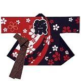 【お祭り衣装】【半纏・法被】 シルクプリント袢天(セット帯付)  B9539