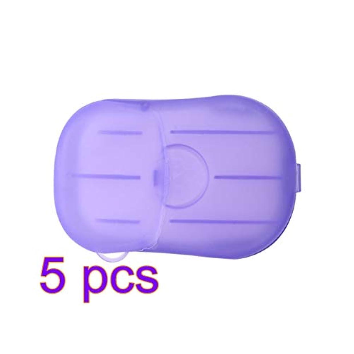 天皇頻繁にママLIOOBO 5セットポータブルソープペーパー使い捨て手洗いペーパーソープスライスシーツ子供用大人トイレ旅行屋外用(パープル)
