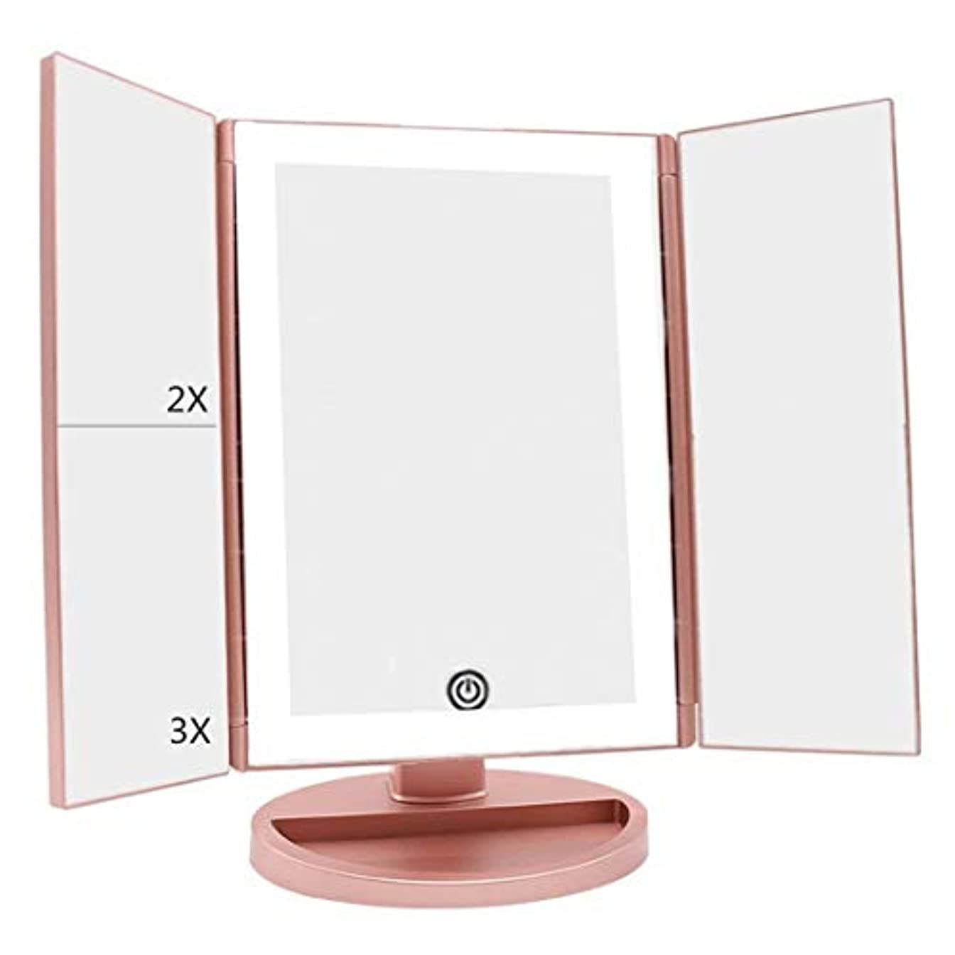おとこうつ売るDeWEISN 最新 36 タッチスクリーン調光および3倍/ 2倍/ 1倍 倍率ミラー180度自由に回転カウンター化粧鏡と自然 日光三つ折り点灯洗面化粧台化粧鏡を導きました ローズゴールド