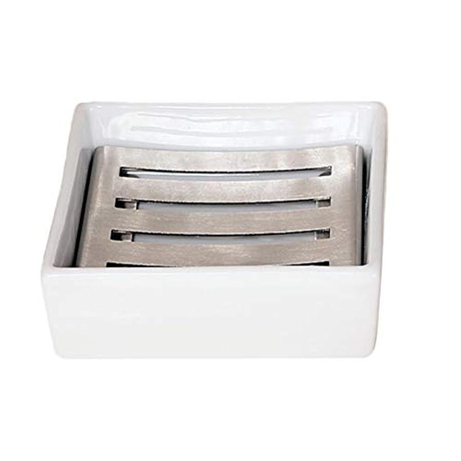 一元化するプーノ確かにTOPBATHY セラミックソープディッシュシャワーソープトレイ付きドレンソープセーバーソープホルダー水切り用シャワーバスルームキッチン