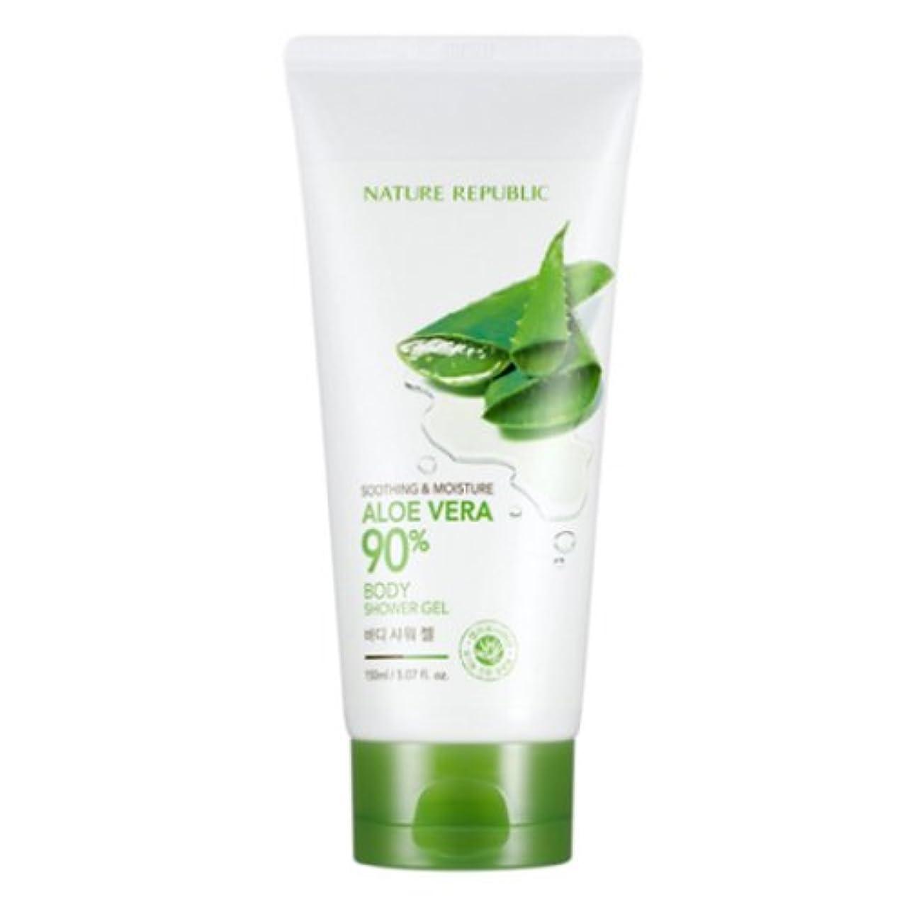スポンジ頻繁に手書き[ネイチャーリパブリック] Nature republicスージングアンドモイスチャーアロエベラ90%ボディシャワージェル海外直送品(Soothing And Moisture Aloe Vera90%Body Shower...