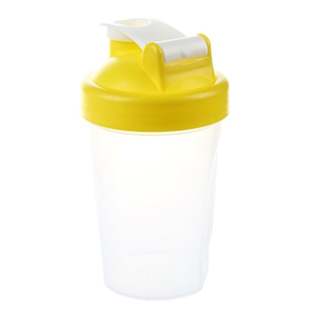SODIAL スマートシェイク ジムプロテインシェーカー ミキサーカップミキサーボトル ステンレスウィスキーボールが付きます イエローカラー