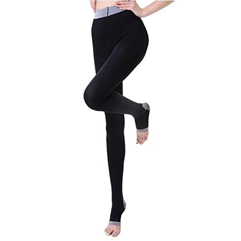クレーン毒液磁気NANA むくみ?足の疲れ解消  着圧ストッキング リンパケア 加圧式 冷え取り オープントゥ 寝ながら美脚ケア レディース 楽やせ 脚やせ 黒