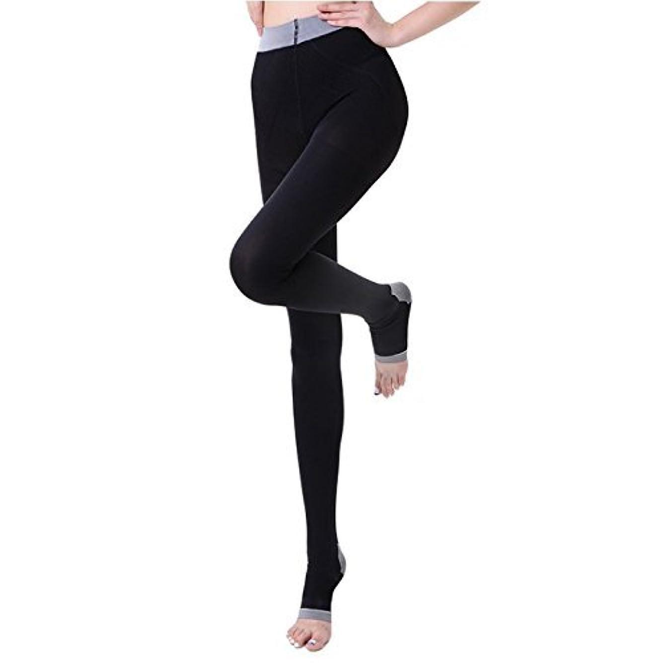 ボイコットのために楕円形NANA むくみ?足の疲れ解消  着圧ストッキング リンパケア 加圧式 冷え取り オープントゥ 寝ながら美脚ケア レディース 楽やせ 脚やせ 黒