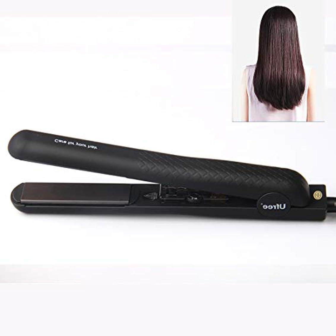 先生飢え解決MEI1JIA Ufree U-330セラミックプレート調節可能な温度ストレートヘアアイロン電気合板理髪ツール髪用、EUプラグ(ブラック) (色 : Black)