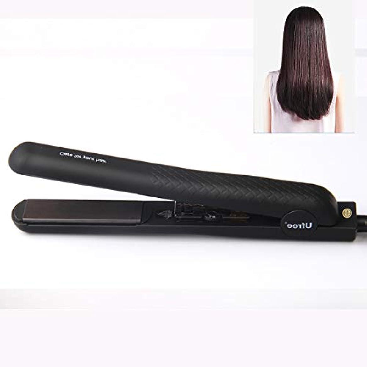 ビジョン決めます爆発MEI1JIA Ufree U-330セラミックプレート調節可能な温度ストレートヘアアイロン電気合板理髪ツール髪用、EUプラグ(ブラック) (色 : Black)