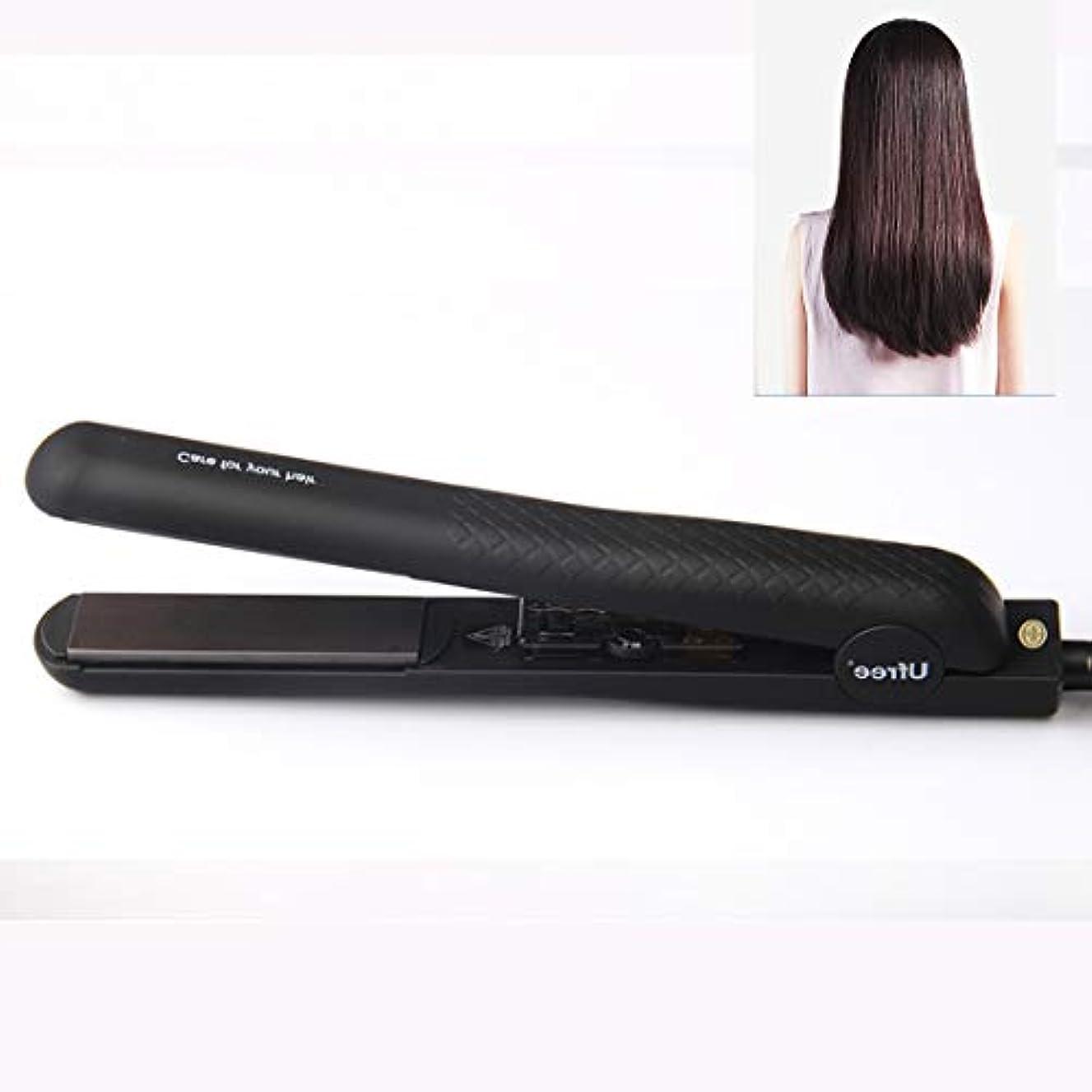 彼ら彼ら写真を描くMEI1JIA Ufree U-330セラミックプレート調節可能な温度ストレートヘアアイロン電気合板理髪ツール髪用、EUプラグ(ブラック) (色 : Black)