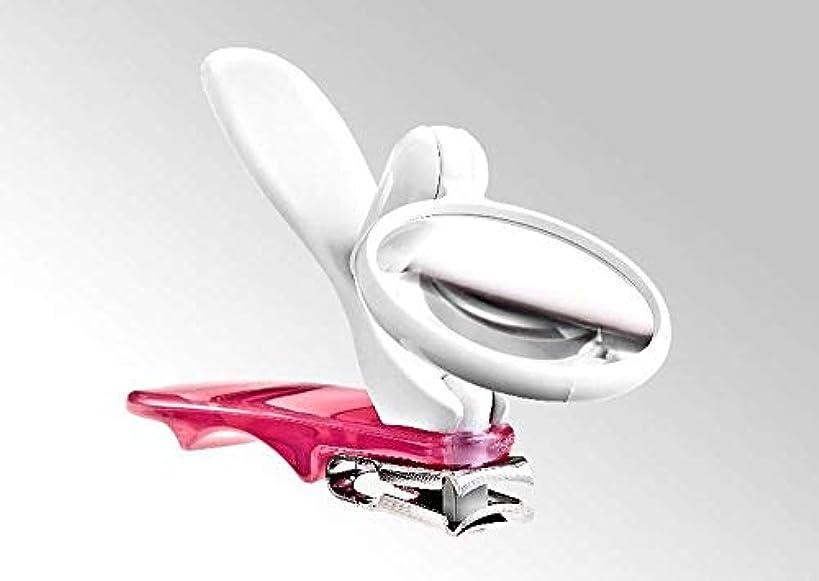 長椅子シュート誇りBocas 360度回転する足用爪切り?ルーペ付き (ピンク)