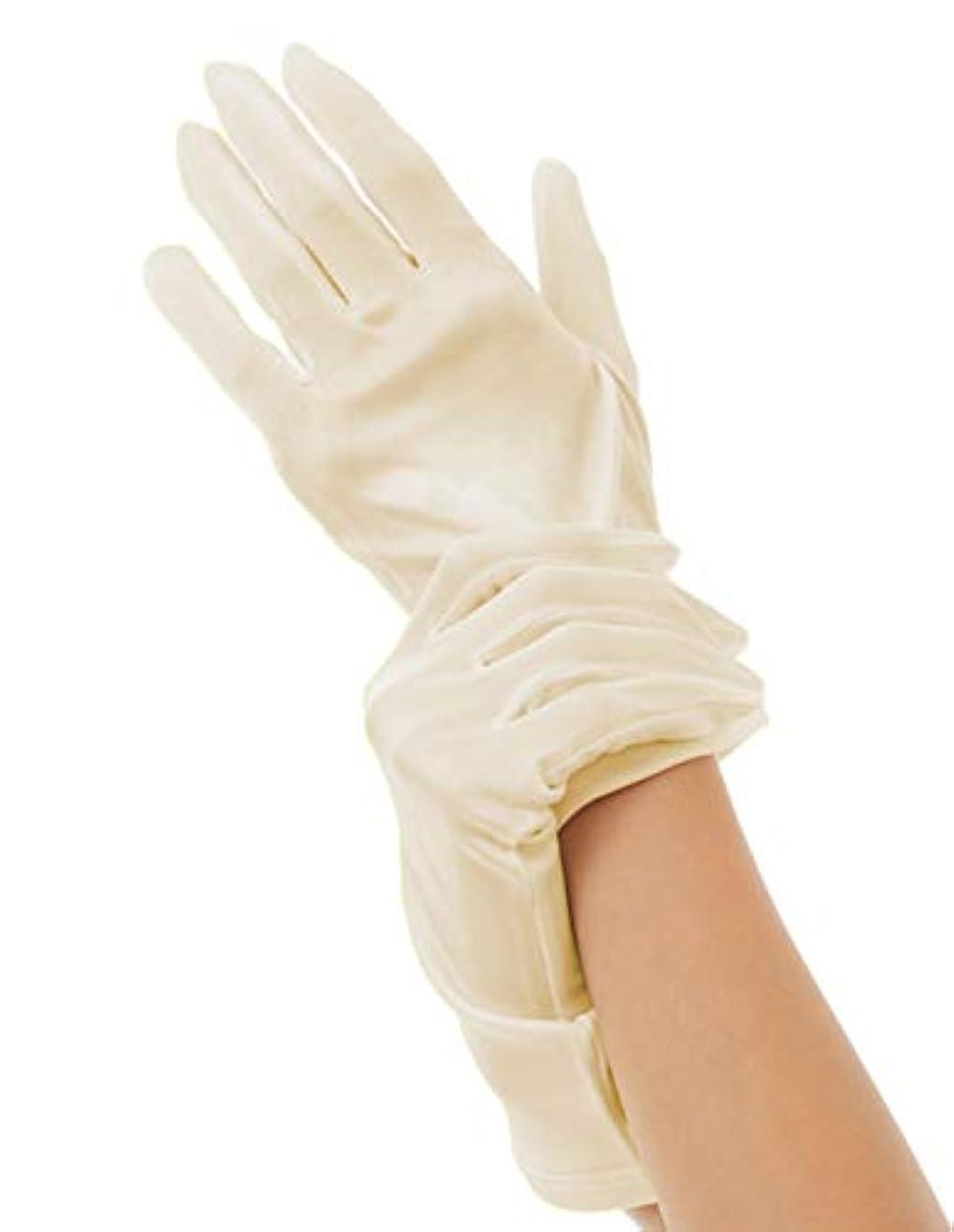 シリングトライアスロンマラソンハンドケア シルク 手袋 Silk 100% おやすみ スキンケア グローブ うるおい 保湿 ひび あかぎれ 保護 上質な天然素材 (M, ライトベージュ)