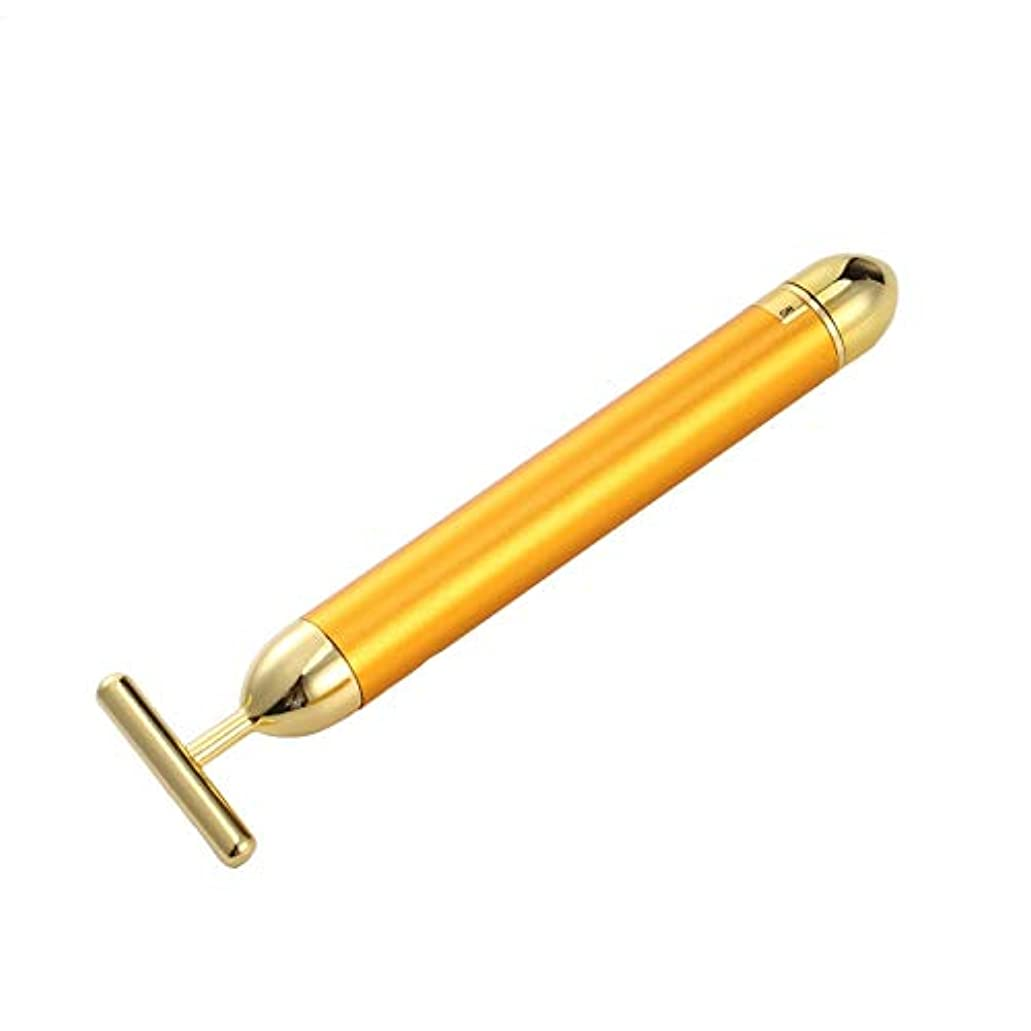 音声テザー貸し手Hello 金の延べ棒24K電気金の美の薄い顔棒家庭用振動T型の表面の器械の美の器械 (Color : Golden)