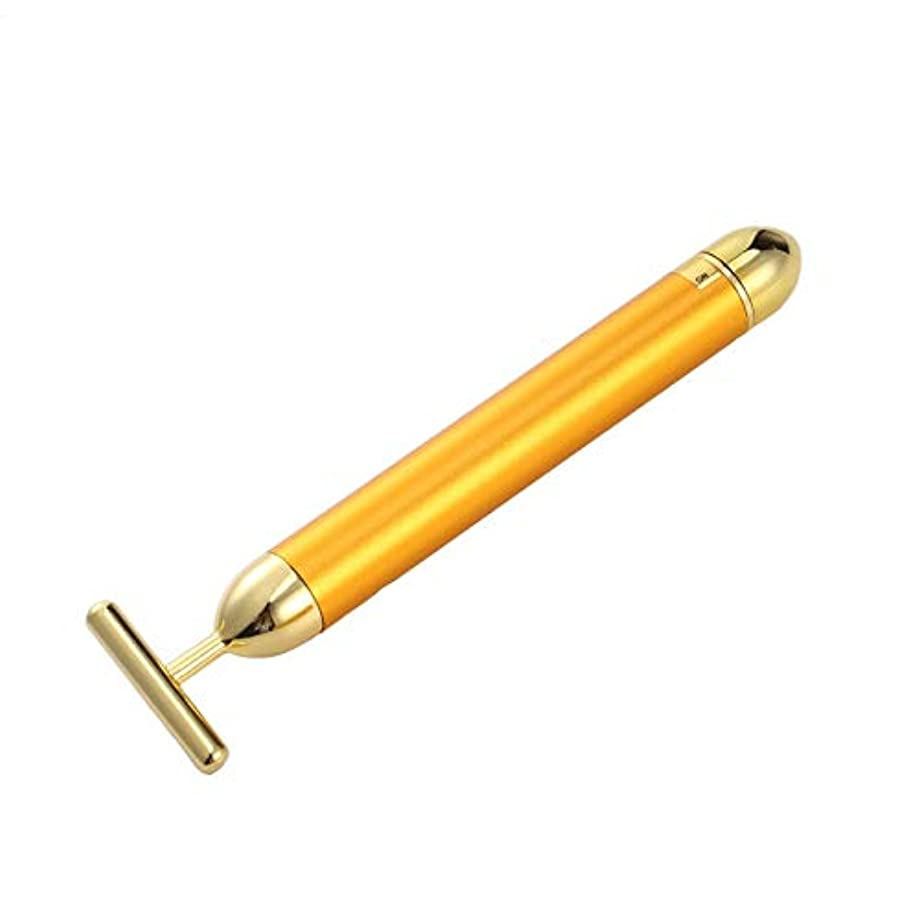 柔らかい足ホスト上陸Hello 金の延べ棒24K電気金の美の薄い顔棒家庭用振動T型の表面の器械の美の器械 (Color : Golden)