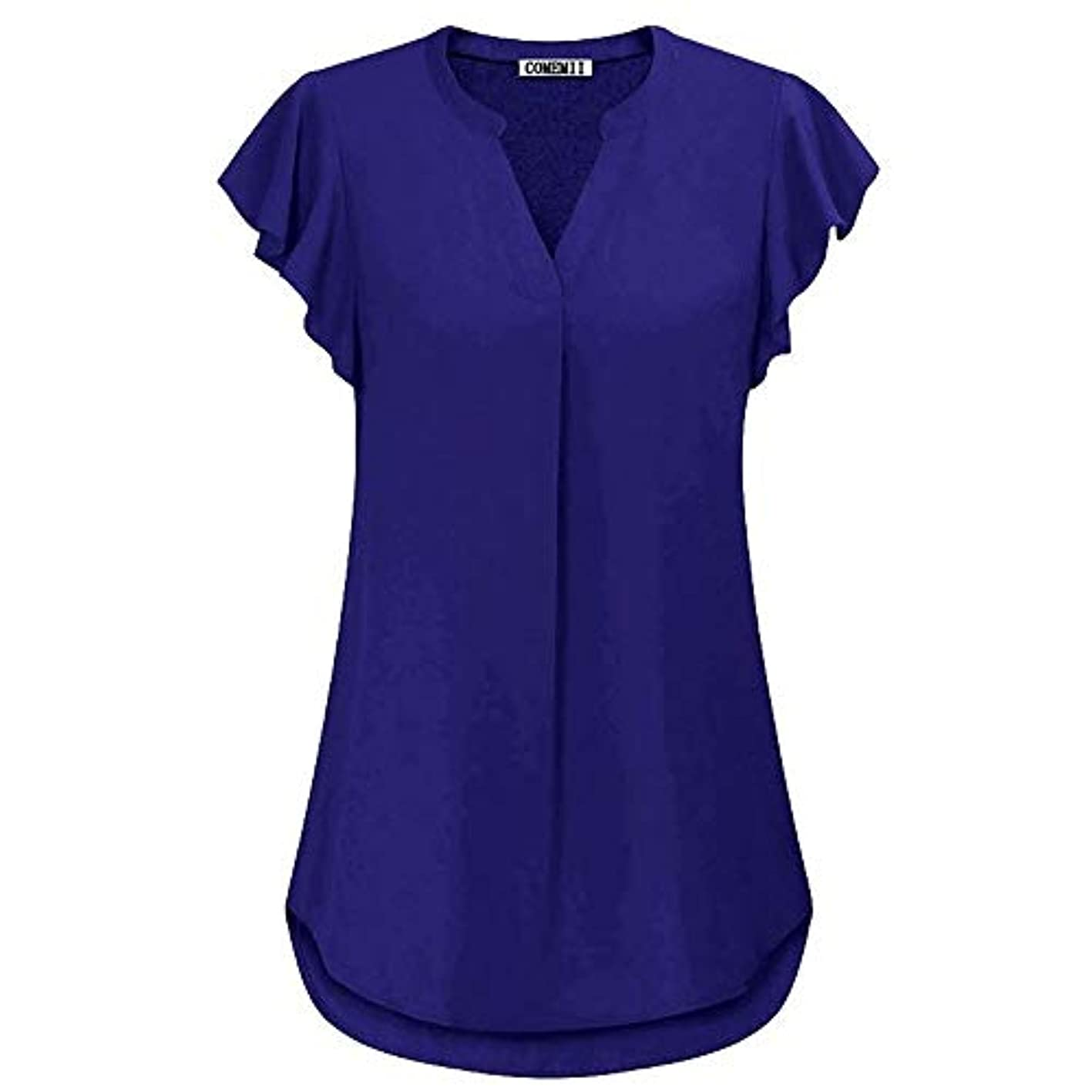 航空機ママインチMIFAN女性ブラウス、シフォンブラウス、カジュアルTシャツ、ゆったりしたTシャツ、夏用トップス、シフォンシャツ、半袖、プラスサイズのファッション