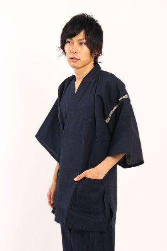 ギフト父の日にも涼しいしじら織り甚平(M,紺)心地の良い生地とポケットが多く使いやすい