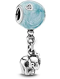 Elephant & Blue Balloon Dangle Silver Charm in 925 Sterling Silver Bead Charms Fit Pandora Bracelets