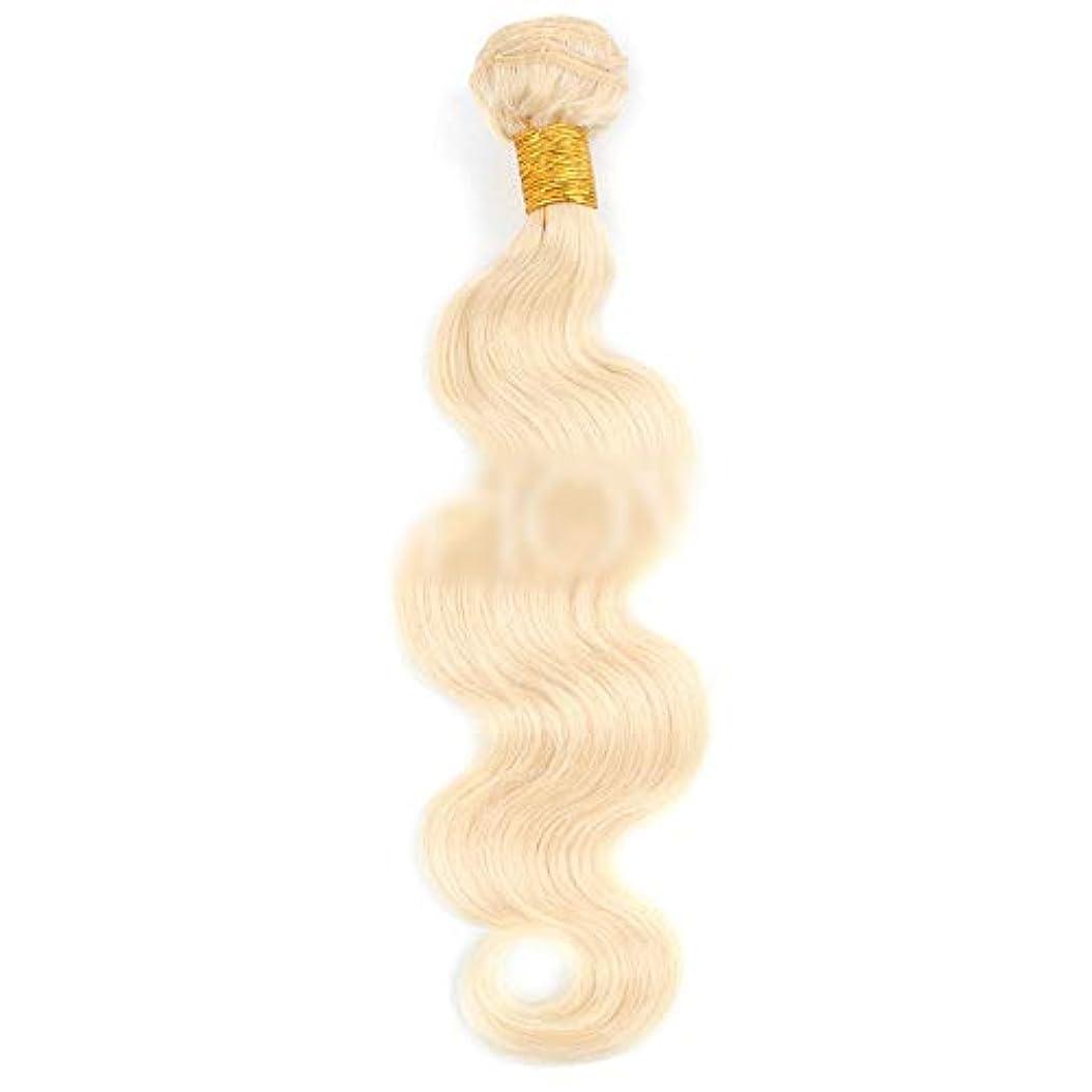 習字厳所得HOHYLLYA ブロンドの人間の髪織りバンドル本物のRemyナチュラルヘアエクステンション横糸 - ボディウェーブ - #613ブロンド(100g / 1バンドル、10インチ-26インチ)合成髪レースかつらロールプレイングウィッグロング&ショート女性自然 (色 : Blonde, サイズ : 24 inch)