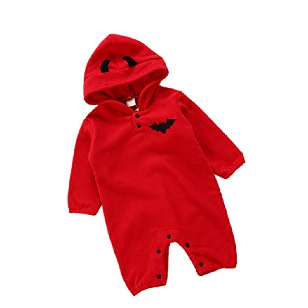 今まで子供っぽいコミュニケーション赤ちゃん ハロウィン ロンパース 新生児 ジャンプスーツ - 幼児ハロウィーンの衣装かわいいコットン ボディー スーツ衣装 (赤)