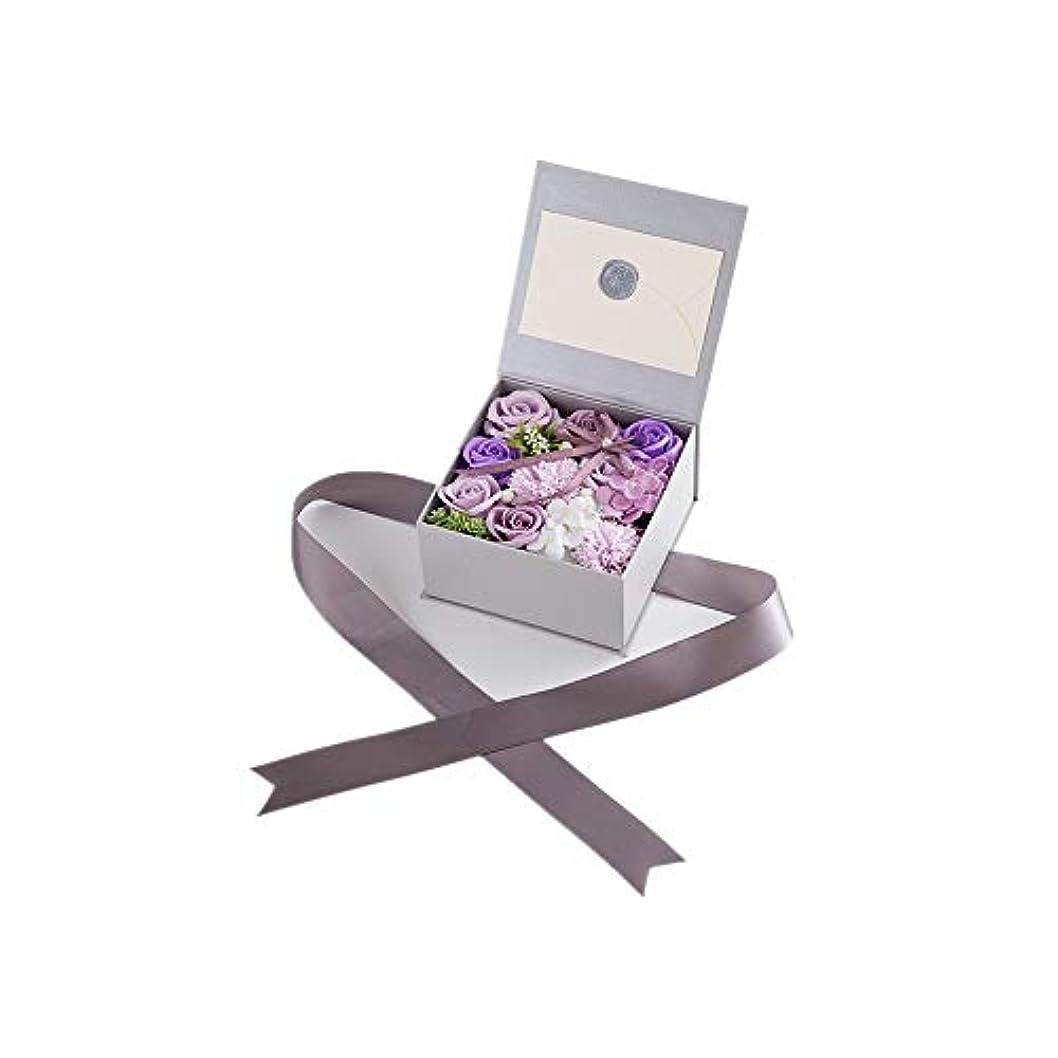 リークプラスチック通行料金生地と花石鹸の花 絶妙な梱包フラワーバレンタインデーのための花バラ花束の記念日誕生日母の日 (色 : Violet)