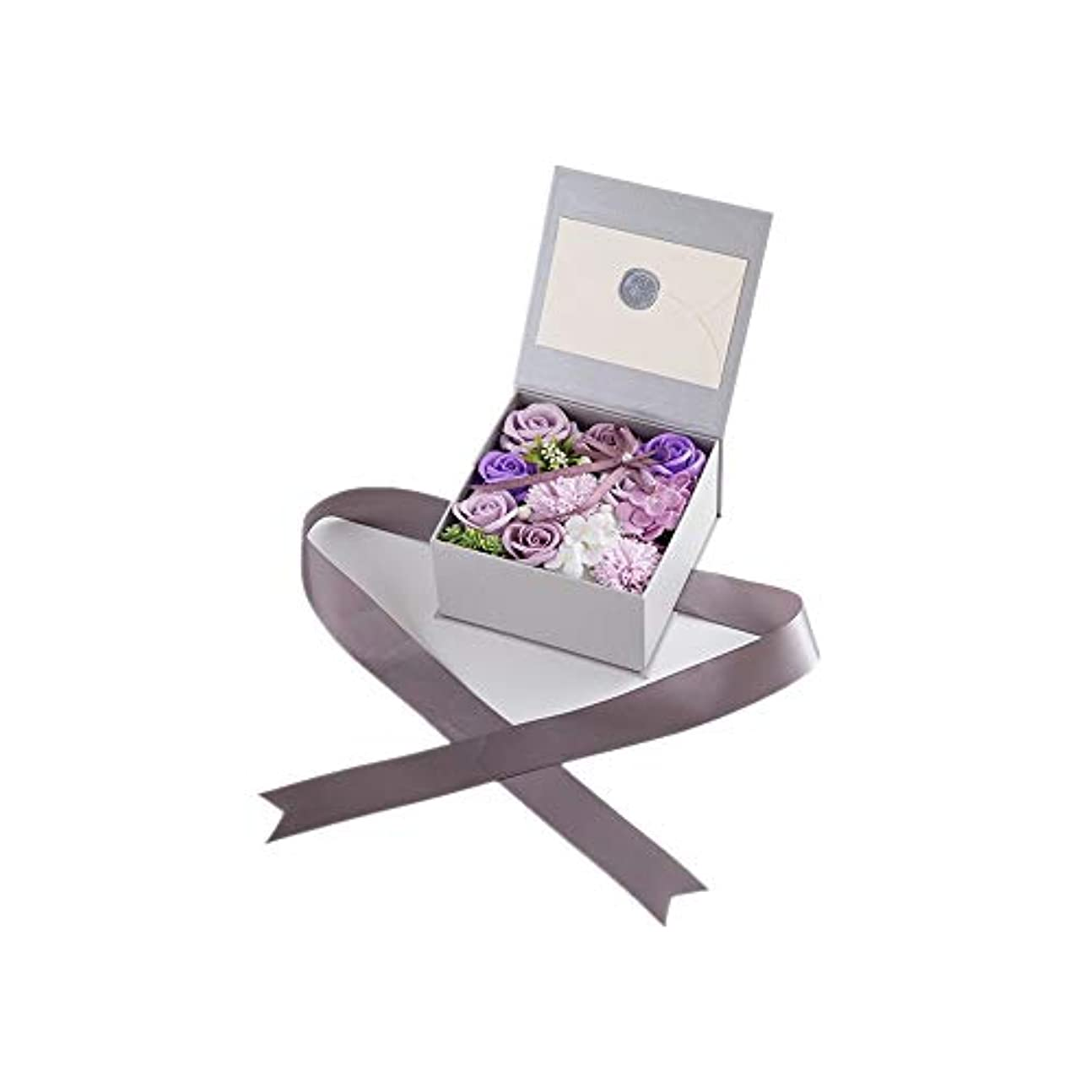 犯罪シャイ暫定生地と花石鹸の花 絶妙な梱包フラワーバレンタインデーのための花バラ花束の記念日誕生日母の日 (色 : Violet)