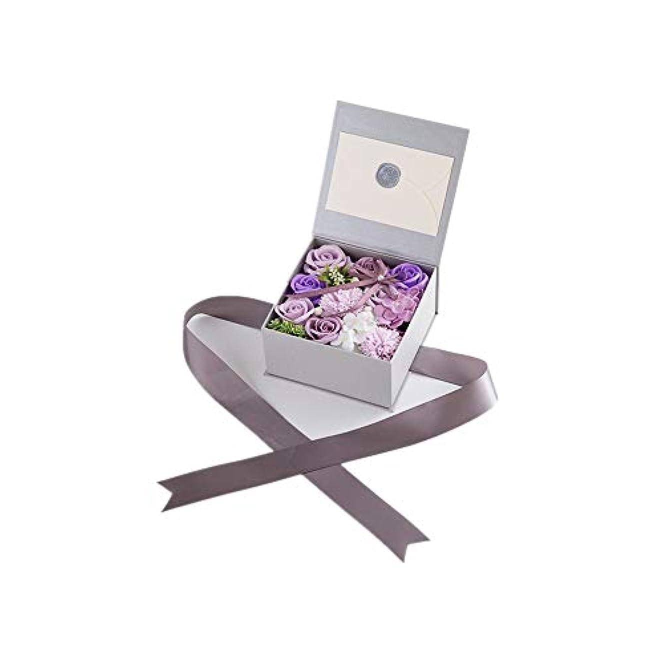 クラウンお互いロゴ生地と花石鹸の花 絶妙な梱包フラワーバレンタインデーのための花バラ花束の記念日誕生日母の日 (色 : Violet)
