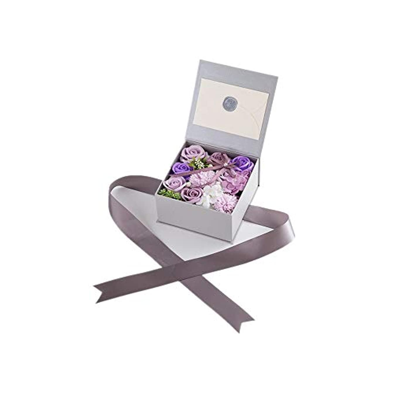 極めて優雅バッジ生地と花石鹸の花 絶妙な梱包フラワーバレンタインデーのための花バラ花束の記念日誕生日母の日 (色 : Violet)