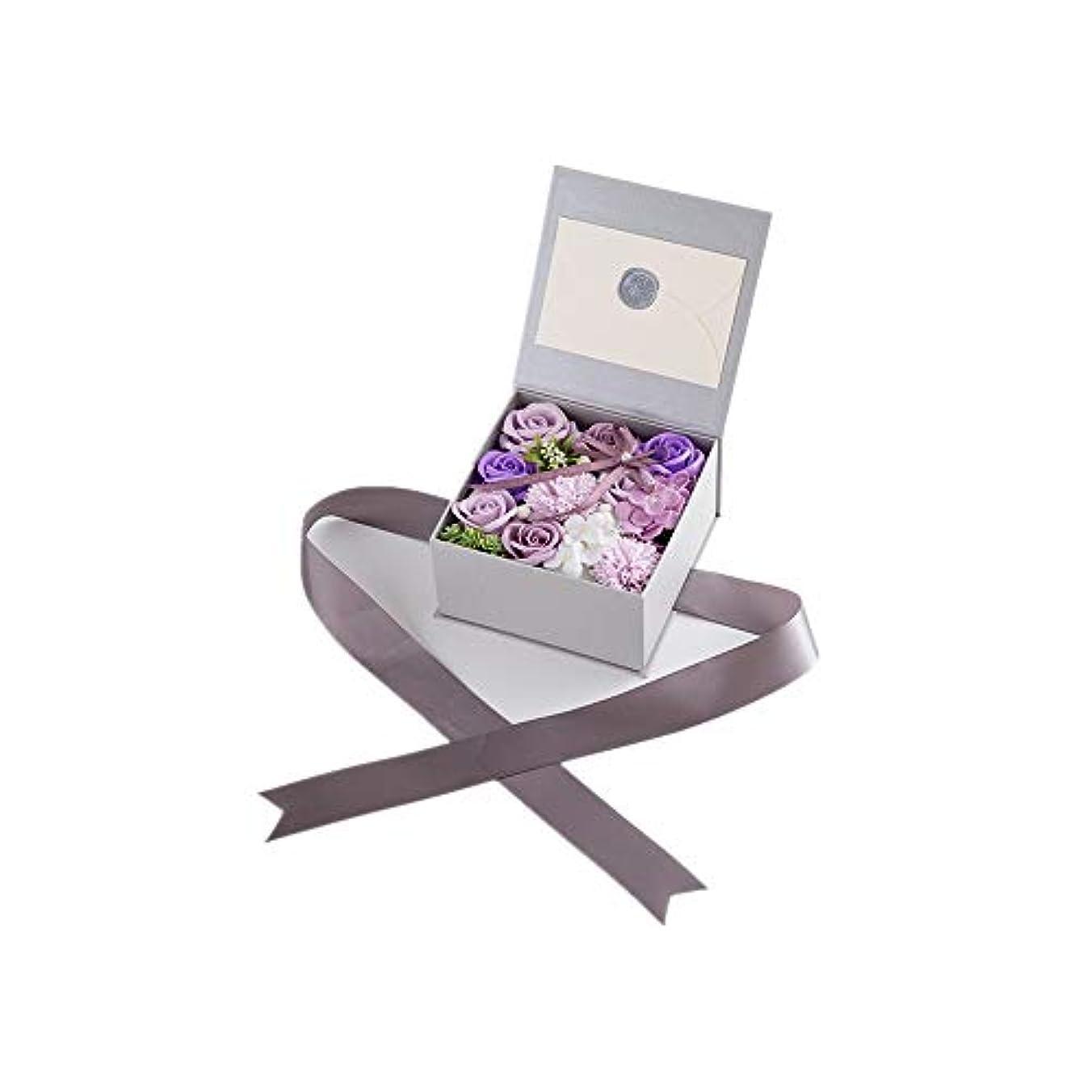 心臓降臨心臓生地と花石鹸の花 絶妙な梱包フラワーバレンタインデーのための花バラ花束の記念日誕生日母の日 (色 : Violet)