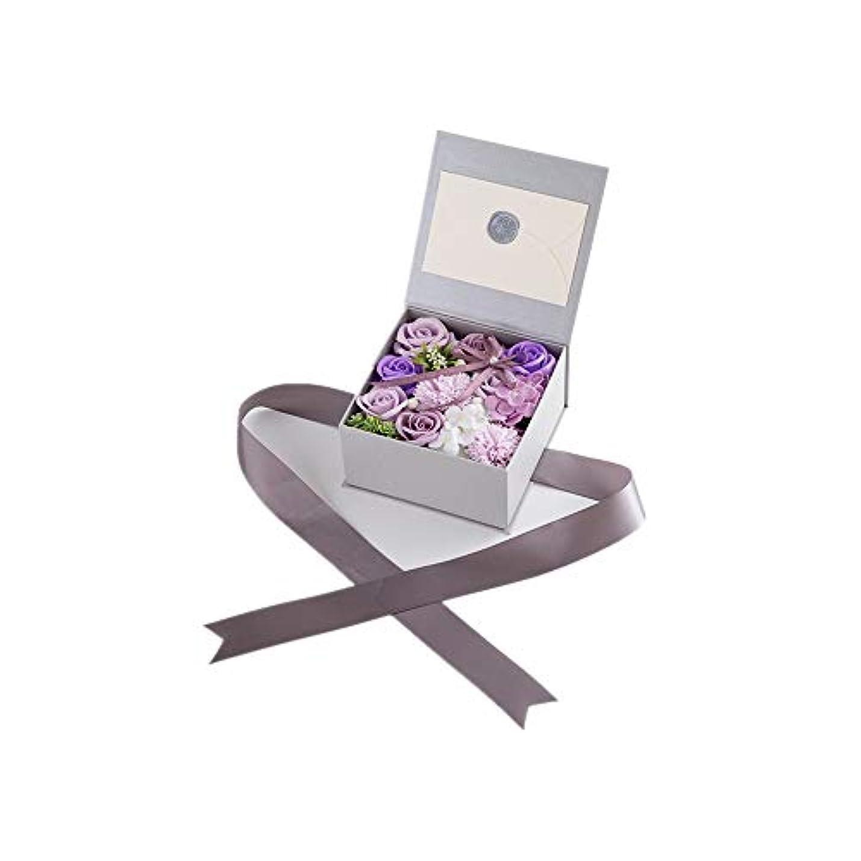 発表する脇に交じる生地と花石鹸の花 絶妙な梱包フラワーバレンタインデーのための花バラ花束の記念日誕生日母の日 (色 : Violet)