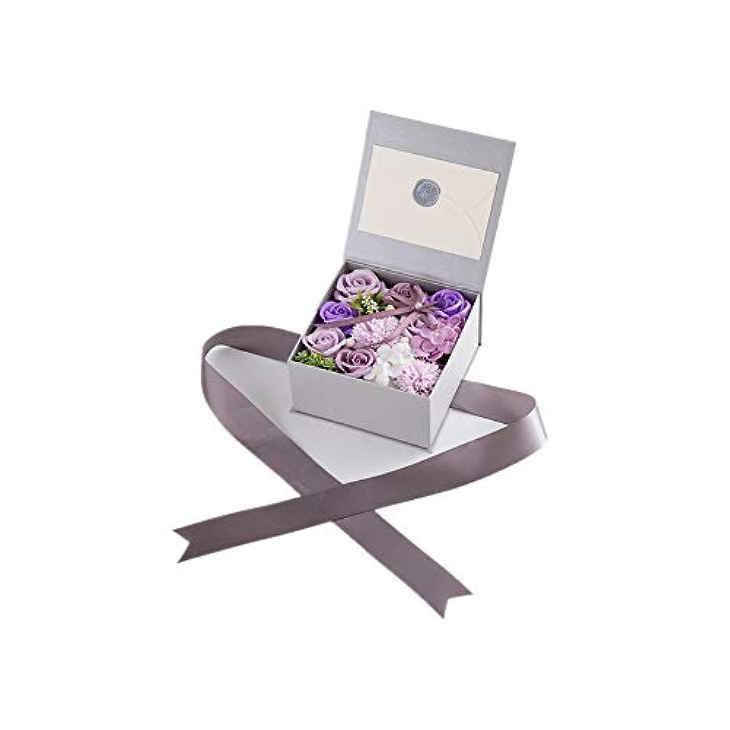 かまどタップ病な生地と花石鹸の花 絶妙な梱包フラワーバレンタインデーのための花バラ花束の記念日誕生日母の日 (色 : Violet)