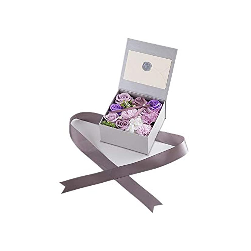 延ばす小石スーパー生地と花石鹸の花 絶妙な梱包フラワーバレンタインデーのための花バラ花束の記念日誕生日母の日 (色 : Violet)