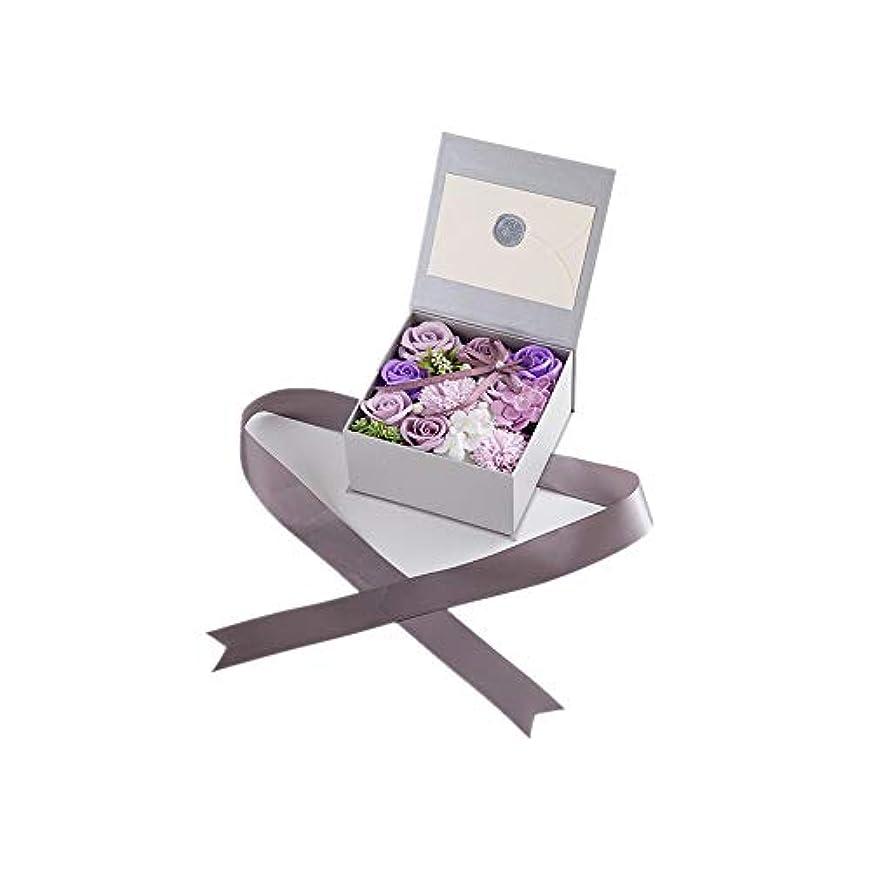 卑しいトラフ集計生地と花石鹸の花 絶妙な梱包フラワーバレンタインデーのための花バラ花束の記念日誕生日母の日 (色 : Violet)