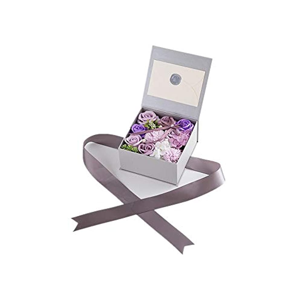 責脇に責生地と花石鹸の花 絶妙な梱包フラワーバレンタインデーのための花バラ花束の記念日誕生日母の日 (色 : Violet)