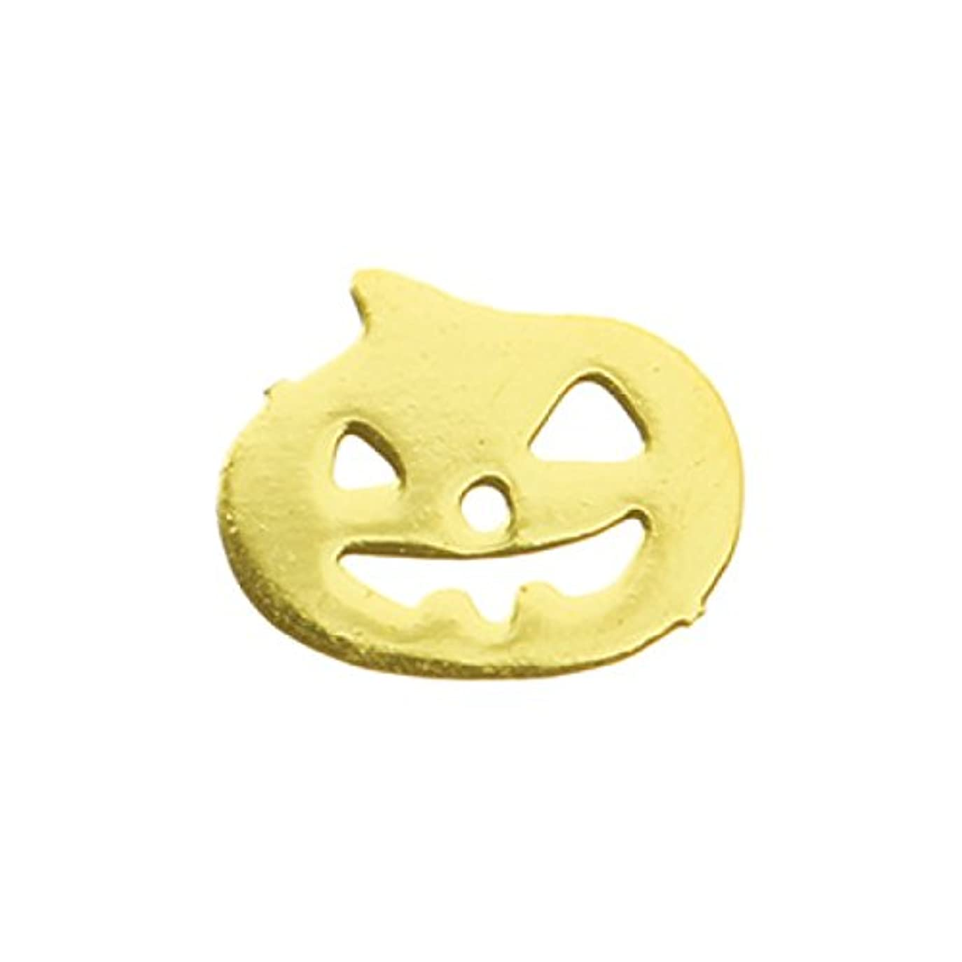 レオナルドダ作曲する緯度メタルプレート(ネイルストーン デコ) パンプキン ゴールド (30個入り)(ネイル用品)