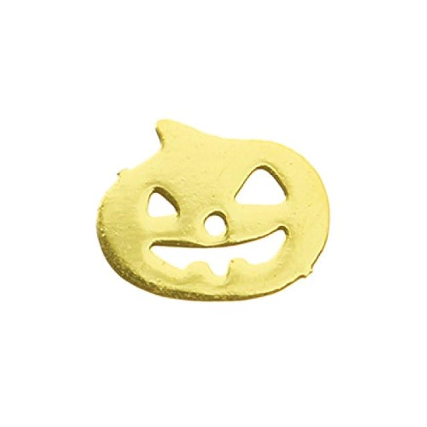 納得させる鋼怖いメタルプレート(ネイルストーン デコ) パンプキン ゴールド (30個入り)(ネイル用品)