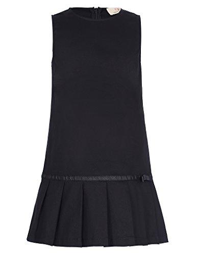 子供ドレス ガールズ フォーマル 丸襟 袖なし コットン ブラック ワンピース 150cm