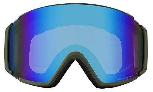 namelessage(ネームレスエイジ) スノーボード ゴーグル 男女兼用 フレームレス 平面ワイド 曇り止め ダブルレンズ 簡単脱着 UVカット99 NLA-894H アーミー/ブラック(B) FREEサイズ メンズ レディース スキーゴーグル スキー