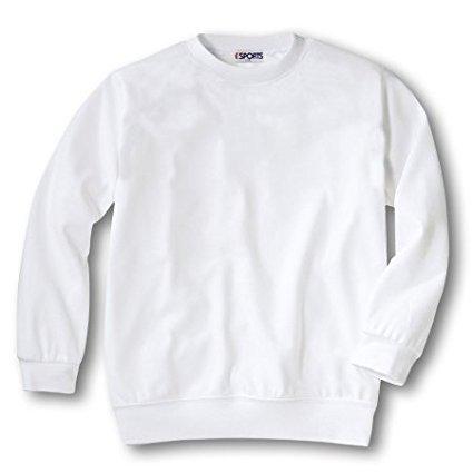 丸首体操服(白) 男女兼用 長袖 無地Tシャツ 体操着 スクール 丸首 子供 キッズ