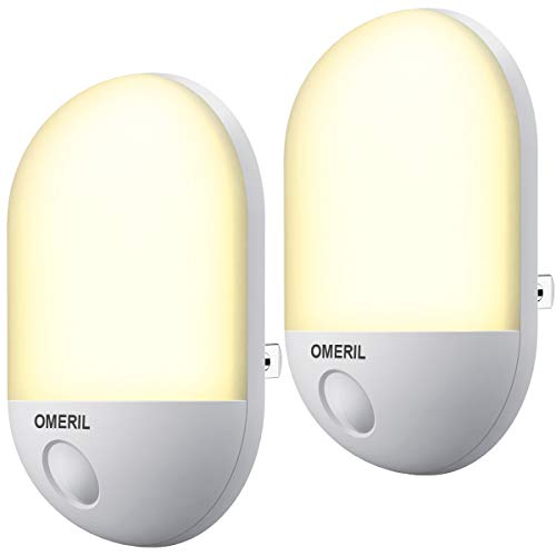 OMERIL 足元灯 明暗センサー コンセント式 LED 常夜灯 ナイトライト 夜間自動点灯 省エネ 玄関/寝室/廊下/階段/キッチン/トイレ/子供部屋/授乳用/防犯など PSE認証済み 2個セット